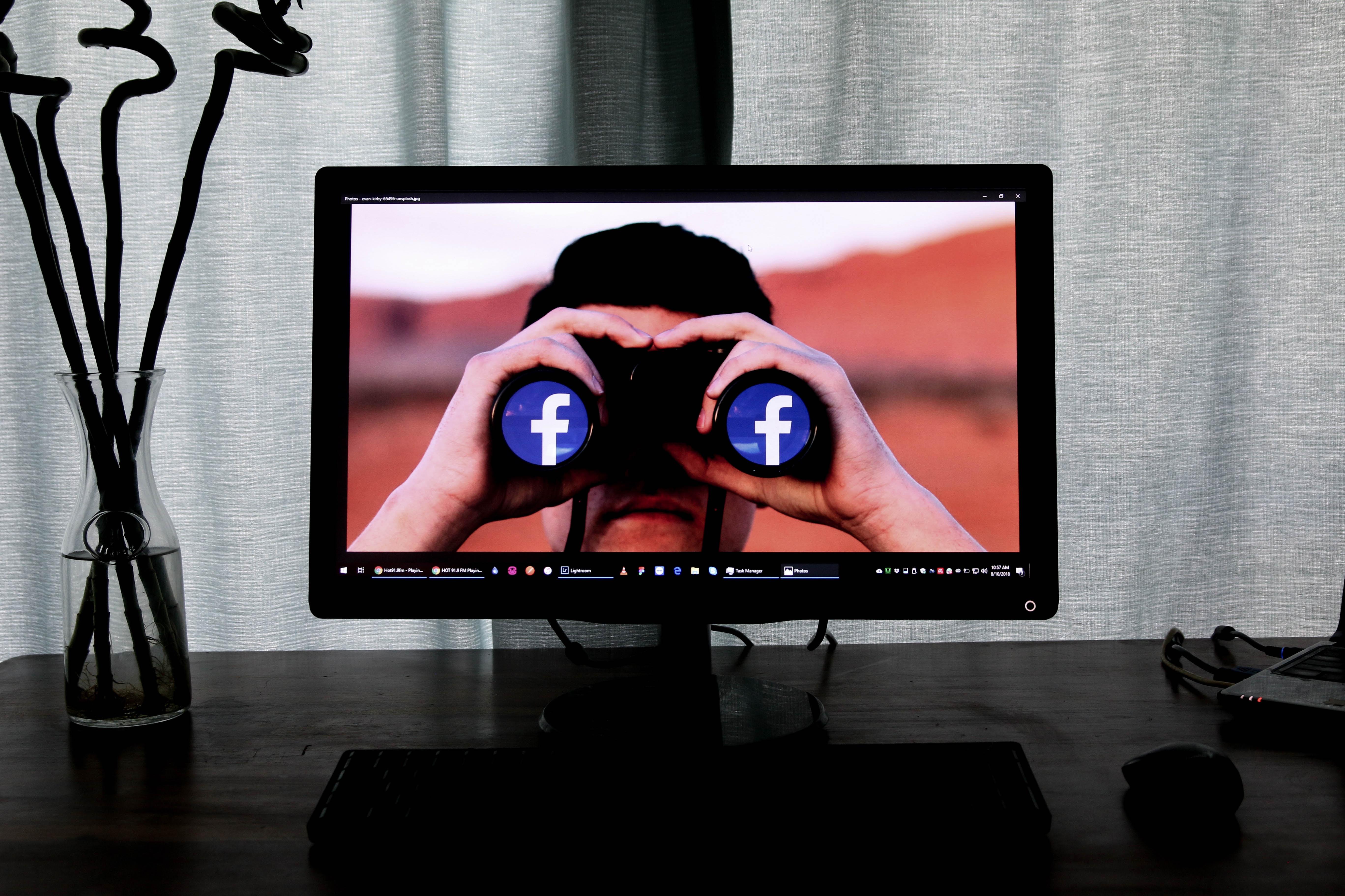 guy with facebook binoculars in monitor screen